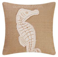 Burlap Seahorse Pillow