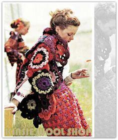 Vintage 70's Crochet SHAWL PDF Pattern  Floral by KinsieWoolShop
