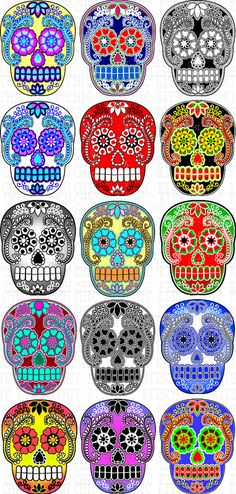 Hey, I found this really awesome Etsy listing at https://www.etsy.com/listing/158512265/colorful-sugar-skull-digital-pictures