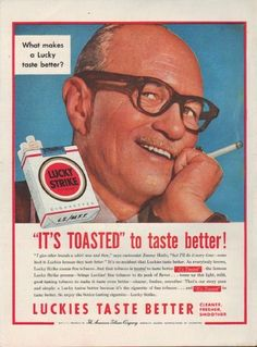 "Description: 1954 LUCKY STRIKE CIGARETTES vintage magazine advertisement ""It's Toasted"" -- What makes a Lucky taste better? ""It's Toasted"" to taste better! ... ""I give other brands a whirl now and then,"" says cartoonist Jimmy Hatlo, ""but I'll do it every time -- come back to Luckies because they taste better."" ... Luckies Taste Better ... Cleaner, Fresher, Smoother -- Size: The dimensions of the full-page advertisement are approximately 10.5 inches x 14 inches (26.75 cm x 35.5 cm) ..."