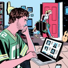 Trio of illustrations by R. Kikuo Johnson from an old article about online dating for The Atlantic. Satire, Discussion Images, Satirical Illustrations, Bristol Board, Social Art, Love Illustration, Vintage Comics, Anime Couples, Art Drawings