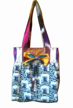 Indie Deisgner Tote Handbag Original print by MariposaTextiles, $120.00 Etsy Fabric, Designer Totes, Blue Velvet, Tote Handbags, Ikat, Hand Stitching, Indie, My Etsy Shop, Reusable Tote Bags