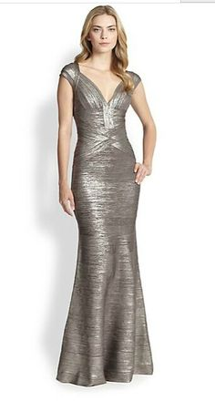 Herve Leger V-Neck Sarai Metallic Foil Mermaid-Gown Dress