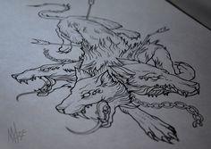 Cerberus Tattoo Sketch by MaryMaryLP.devian… on – Tattoo Modals Dog Tattoos, Body Art Tattoos, Sleeve Tattoos, Tattoo Sketches, Tattoo Drawings, Trendy Tattoos, Tattoos For Guys, Hellhound Tattoo, Hades Tattoo