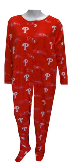 Philadelphia Phillies Logo Ladies Onesie Footie Pajama  Calling all Phillies fans! This cozy microfleece footie pajama for women features the classic Philadelphia Phillies logo on a red background. Onesie is machine washable and has two pockets, as well as gripper bottoms on the feet. These jammies are totally awesome! $40