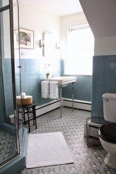 The Awesome Web Vintage blue tile bathroom via Meet Me in Philadelphia