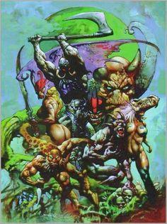The Intense Art of Simon Bisley - Death Dealer and Jaguar God Atomic Satyr Archives Simon Bisley, Frank Frazetta, Dark Fantasy Art, Fantasy Artwork, Comic Book Artists, Comic Artist, Comic Books Art, Illustrations, Illustration Art
