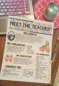 Meet the Teacher Newsletter Template EDITABLE Bright Stripes Back to School Awesome Meet The Teacher newsletter to hand out at Open House or during the first days of school! Super cute and editable! Back To School Night, 1st Day Of School, Beginning Of The School Year, First Day Of School Activities, School Starts, Sunday School Teacher, Teacher Organization, Teacher Hacks, Teacher Stuff