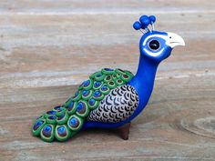 Peacock: Handmade miniature polymer clay animal por AnimalitoClay