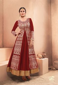 Maroon Dhupian Layer Ankle Length Anarkali Suit 63346