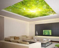 "Ceiling STICKER MURAL leaves trees spring forest airly air decole poster 93x93""(236x236cm) /"
