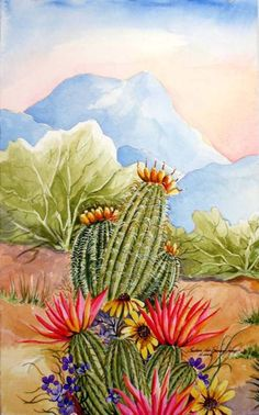 Among Friends III - Southwest Art Print - Barrel Cactus and Hedgehog Blossoms in the Sonoran Desert - Arizona Desert Lan Art Prints, Southwestern Art, Desert Painting, Art Painting, Southwest Art, Western Art, Cactus Art, Desert Art, Mexican Art