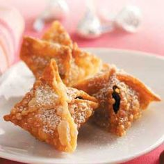 Chocolate kisses inside wonton wrappers