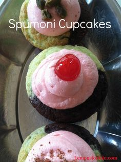 Spumoni Cupcakes - all of the flavors of chocolate, cherries, and pistacho
