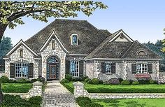 European Styling with Options - 48101FM | European, French Country, 1st Floor Master Suite, Bonus Room, Butler Walk-in Pantry, CAD Available, Den-Office-Library-Study, Jack & Jill Bath, PDF, Split Bedrooms, Corner Lot | Architectural Designs