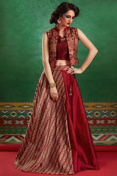 Samyakk Maroon Cotton Silk Printed Jacket Style Lehanga Choli