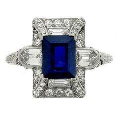Art Deco Sapphire and Diamond Ring, Circa 1925