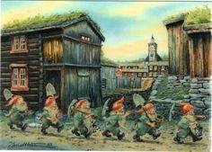 by Kjell Einar Midthun Gnome Pictures, Elves And Fairies, Fairies Garden, Norwegian Christmas, Baumgarten, Nordic Art, Postcard Art, Color Pencil Art, Magical Creatures