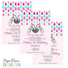 Itsy bitsy spider birthday invitation girl modern by paperclever, $13.00