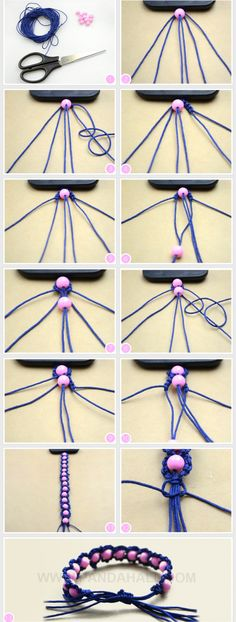 WOW +++ TUTORIAL +++ macramé +++ Ideas on how to make a friendship bracelet with beads; as same as the trendy Shamballa bracelet, you can make these fabulous friendship bracelet more distinctive simply by adding some beads in. Seed Bead Bracelets Tutorials, String Bracelet Patterns, Beaded Bracelets Tutorial, Embroidery Bracelets, Macrame Tutorial, Embroidery Floss Crafts, Paracord Tutorial, Macrame Jewelry, Macrame Bracelets