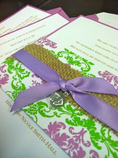 Baby shower invites: super crafty. super creative. super sweet. lavender, green, burlap Lavender Green, Paper Gifts, Baby Showers, Burlap, Party Ideas, Invitations, Crafty, Creative, Sweet
