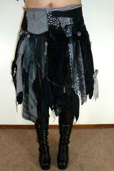 Tattered Skirt Tribal Festival Fairy Pixie Goth Bohemian Bellydance - Custom Made to Order