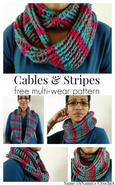 cables and stripes free crochet cowl pattern *༺✿ƬⱤღ  http://www.pinterest.com/teretegui/✿༻*