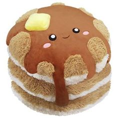 Comfort Food Pancakes: An Adorable Fuzzy Plush to Snurfle and Squeeze! Food Pillows, Cute Pillows, Food Plushies, Yummy World, Cute Stuffed Animals, Cute Plush, Dog Bows, Cute Food, Fourth Of July