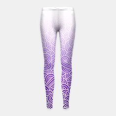 """Ombre purple and white swirls zentangle"" Girl's Leggings by @savousepate on Live Heroes #leggings #leggins #pants #kidsclothing #kidsapparel #drawing #pattern #zentangles #doodles #abstract #amethyst #mauve #lilac #lavender #purple #white #ombrepurple #gradientpurple"
