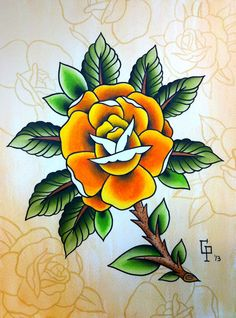 Traditional Rose Tattoo Flash Painting