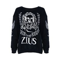 Hoodies/Sweatshirts - ZEUS Print Long-sleeved Black Sweatshirt #pariscoming your personal style online store. #outfit #stylist #Styling #streetstyle #fashionblog #fashiondiaries #fashiondiary #WearIt #WhatYouWear ✿ ❀ like it? buy now ❀ ✿