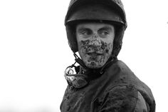A muddy Johnny King after his ride at Fairyhouse.