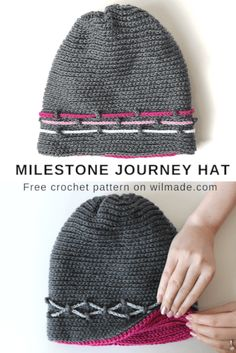 Milestone Journey Hat - free crochet hat pattern by Wilma Westenberg on Wilmade. Crochet Mittens Free Pattern, Crochet Stitches, Knitting Patterns, Crochet Patterns, Easy Crochet, Free Crochet, Knit Crochet, Crochet Beanie, Knitted Hats