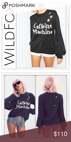 ✨Wildfox Caffeine Machine Misty Sweater✨ ✨Wildfox Caffeine Machine Misty Distressed Sweater✨Brushed fibers lend woolly texture to this slouchy Wildfox sweater, detailed with 'Caffeine Machine' lettering✨Drop-stitch holes create a time-worn effect✨Crew neckline and ribbed edges✨Long sleeves✨Fabric: Brushed Knit-70% acrylic/15% nylon/8% wool/7% alpaca✨NWT✨Size Medium & Large✨ Wildfox Sweaters Crew & Scoop Necks