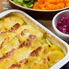 "This Syn Free Bacon, Onion and Potato Bake reminds me of my childhood, where it was affectionately known as ""Tin Of Praters"". Syn Free Bacon, Onion and Potato Bake is ridiculously easy to make. We like an easy dinner, especially if we've had a Slimming World Dinners, Slimming World Recipes Syn Free, Slimming Eats, Diet Recipes, Cooking Recipes, Healthy Recipes, Recipies, Budget Cooking, Budget Meals"