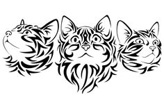 Pretty Tribal Cat Face Silhouettes Template, Stencil, Sjabloon.