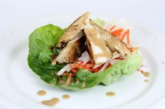Chicken lettuce wraps with peanut dipping sauce