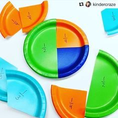 Super smart way to teach equivalent fractions, ordering fractions, comparing fractions, etc. My new FAVORITE way to introduce fractions! We even use them to help us order fractions on a number line. Colored paper plates from dollar store. Teaching Fractions, Math Fractions, Teaching Math, Ordering Fractions, Comparing Fractions, Equivalent Fractions, Teaching Ideas, Dividing Fractions, Phonics Games