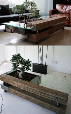 20 Uniquely Beautiful Coffee Tables Bringing elements of nature into your home can make things feel brighter, bigger, and healthier. This coffee table with a built-in bonsai tree also has its own zen aura. Unique Furniture, Wood Furniture, Furniture Design, Modular Furniture, Furniture Ideas, Unique Coffee Table, Coffee Table Design, Coffee Tables, Creative Coffee