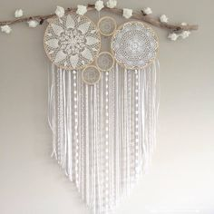 Dreamcatcher and Crochet Mural Mural White