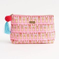 Cosmetic bag in pink llama print by Packed Party. Pink grounded print with white and blue accents. Made of durable poly material and great for travel!<br><br>Size - 6 x 8 Alpacas, Llama Pillow, Alpaca My Bags, Llama Print, Llama Gifts, Llama Alpaca, Cute Llama, Cool Patches, Summer Gifts