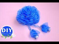 DIY.Кanzashi flower tutorial.Kanzashi. Flower on the hairclip.Flowers from ribbon.Rose Organza - YouTube