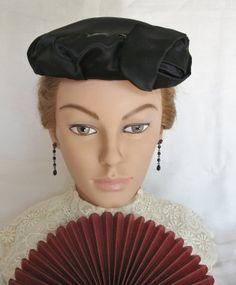 Vintage Black Satin Ladies Hat @ Vintage Touch $12.50