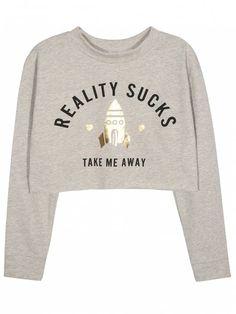 Take Me Away Cropped Graphic Sweatshirt - GRAY XL