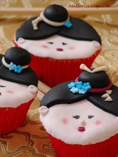 Geishas cupcakes paso a paso