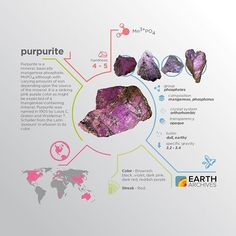 Purpurite was named in 1905 by Louis C. Graton and Waldemar T. Schaller from the Latin 'purpura' in allusion to its color. #science #nature #geology #minerals #rocks #infographic #earth #purpurite