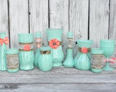 Mint and Coral SHABBY CHIC Vase set of 10 Rustic by SoFrickinCute I have about 10 of these vases to paint Chic Wedding, Rustic Wedding, Our Wedding, Dream Wedding, Wedding Stage, Wedding Themes, Wedding Colors, Wedding Ideas, Wedding Inspiration