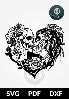 SVG / PDF / DXF cut file, Paper Cutting Template, Calavera, sugar skull kissing with flowers, paperc Skull Couple Tattoo, Couple Tattoos, Skull Sketch, Skull Drawings, Sugar Skull Artwork, Sugar Skull Stencil, Skull Coloring Pages, Paper Cutting Templates, Sugar Skull Tattoos