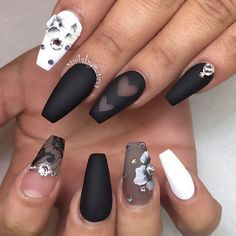 Black and White Negative Space Ballerina Nails With Flowers and Rhinestones
