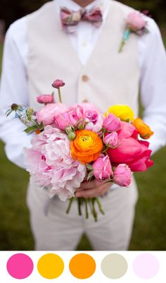 Pink Peonies and Orange Ranunculus Bouquet.  Pinned by Afloral.com from http://www.theperfectpalette.com/2014/08/10-colorful-bouquets-for-your-wedding.html ~Afloral.com has high-quality real touch flowers for your DIY wedding bouquets.